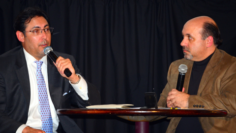 Phillies GM Ruben Amaro, Jr. (left) is interviewed during the Cutters Hot Stove festivities.