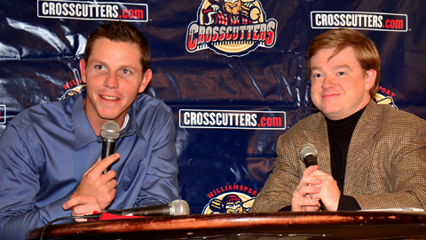 Phillies pitcher Justin DeFratus (left) was one of the featured guests at the Cutters Hot Stove event.